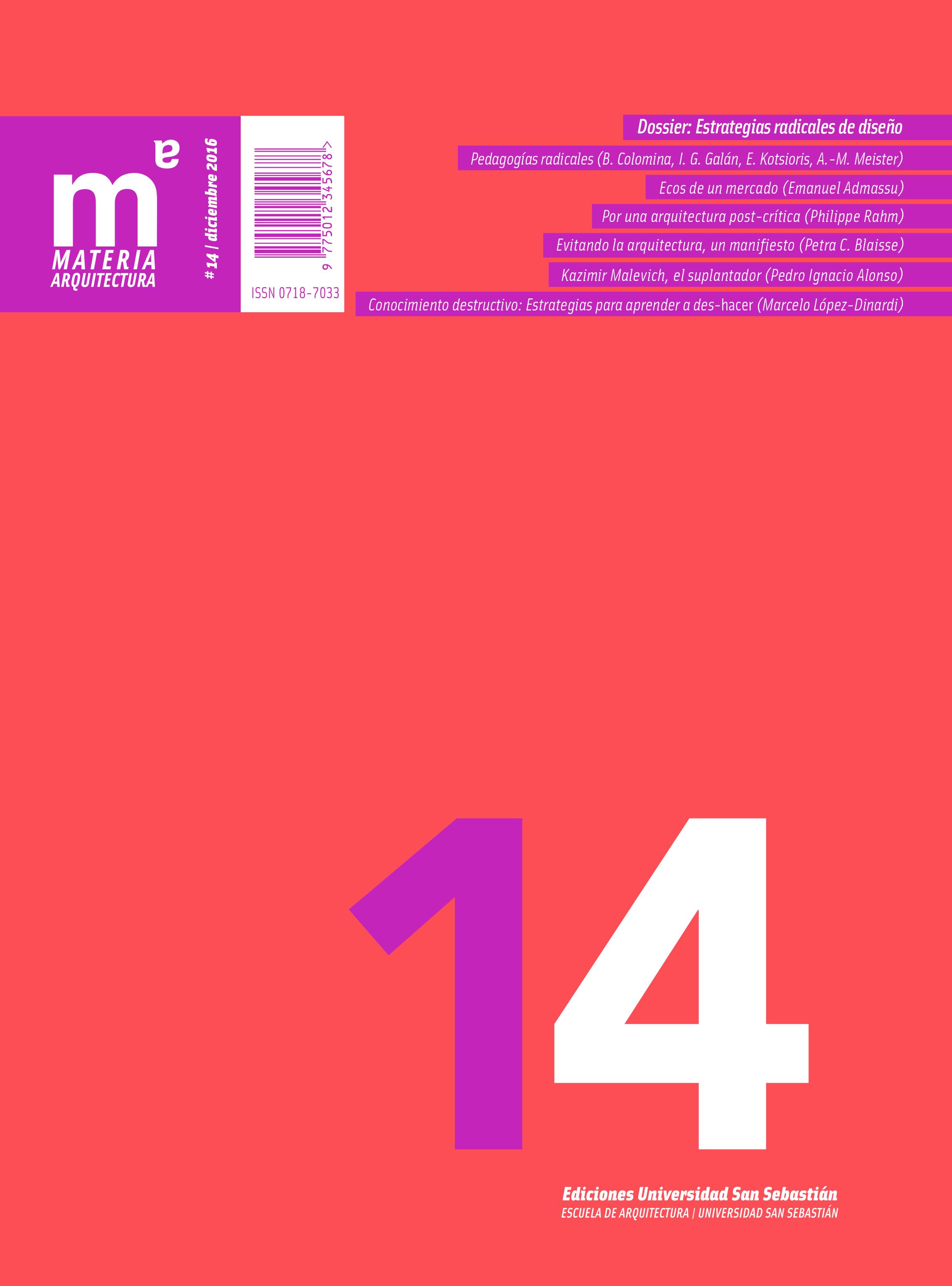 Portada revista numero 14 Materia Arquitectura USS